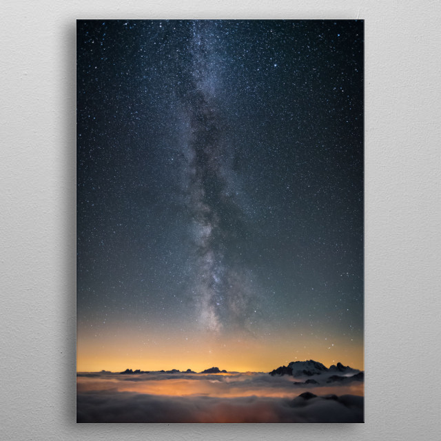 City of Stars - A shot of the galactic core taken in the Dolomites mountains metal poster