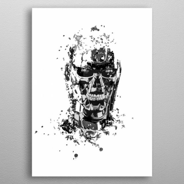Terminator T-800 splatter painting metal poster