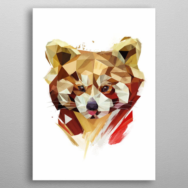 Red Panda metal poster
