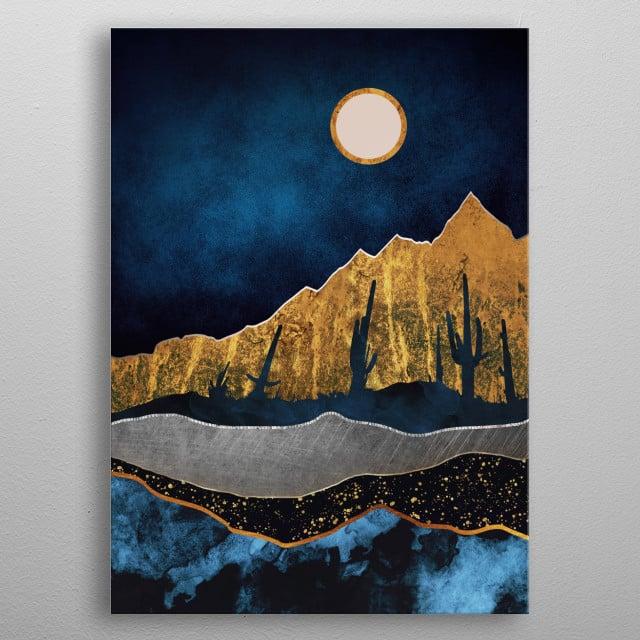 Midnight Desert Moon metal poster