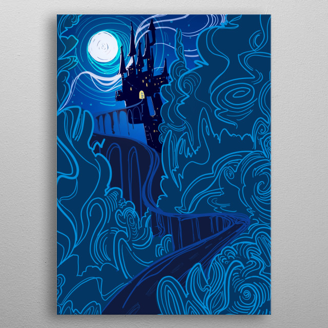 Road to Spooky Castle metal poster