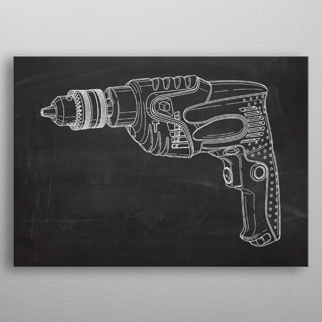 Electric Drill - Drawing metal poster