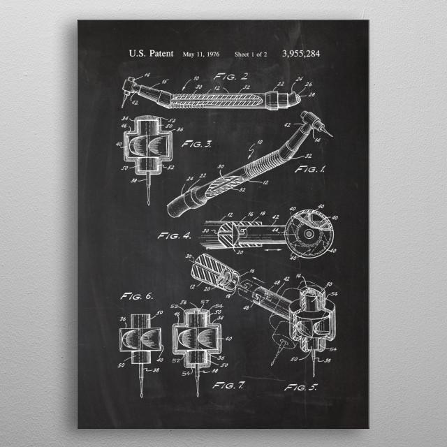 Dental Tool - Patent Drawing metal poster