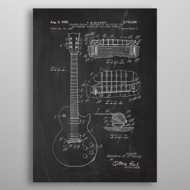 1953 Electric Guitar - Patent Drawing metal poster