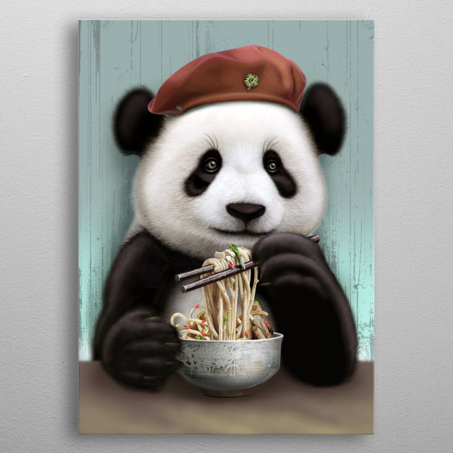 PANDA EAT NOODLE metal poster