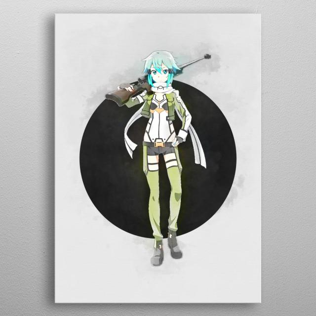Shino / Sword Art Online / SAO / Watercolor metal poster