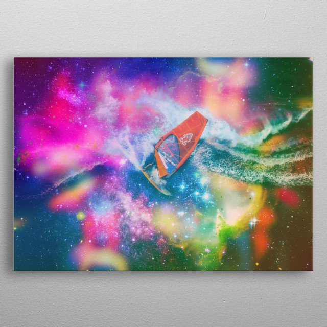 Surreal surfing in outer space! metal poster
