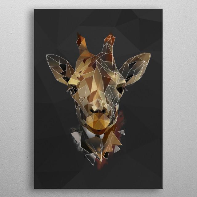 Giraffe - sketch metal poster