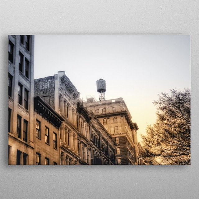 Water towers in New York are everywhere. Just look up and you'll notice on top of New York's buildings round, wooden structures that look like ancient relics from the past that were accidentally left there.  metal poster
