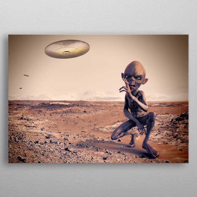 Invasion of Aliens in Mars metal poster