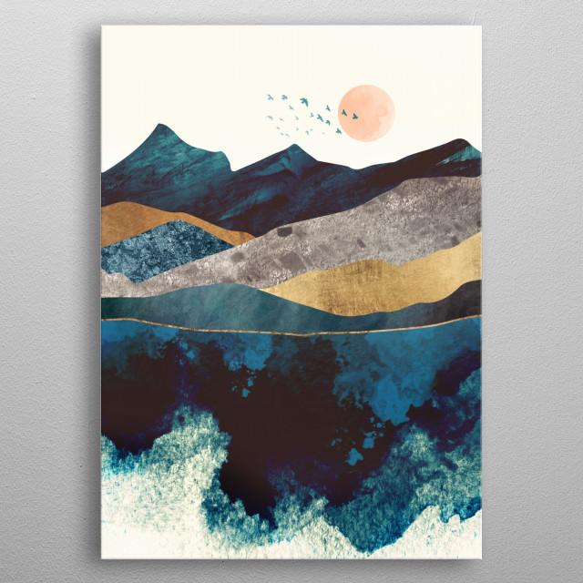 Blue Mountain Reflection metal poster