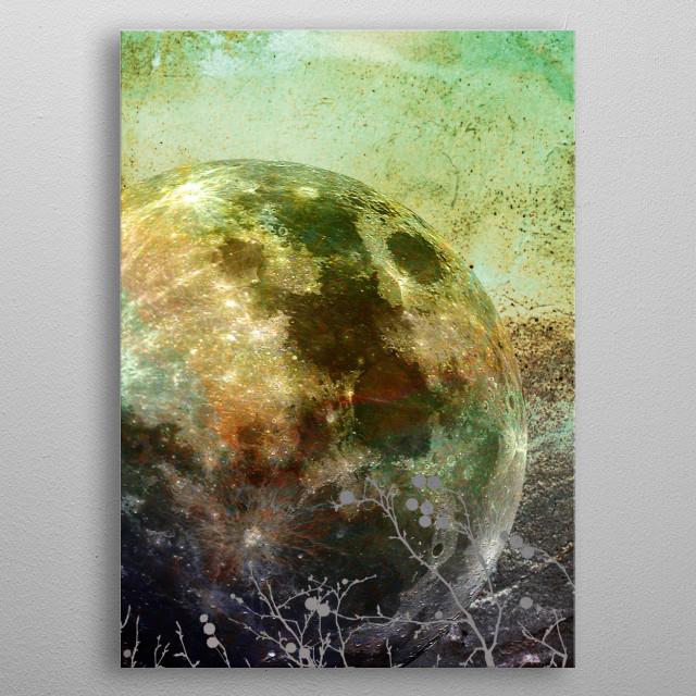 MOON under MAGIC SKY X-3. Conceptual art work. metal poster