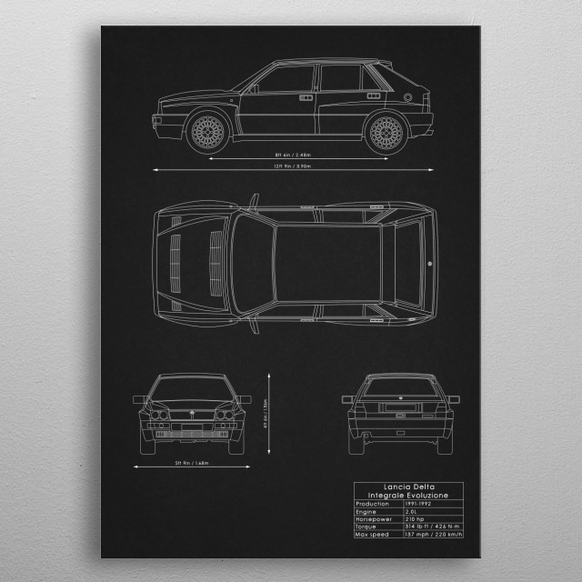 Lancia Delta Integrale Evoluzione metal poster