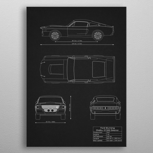 Ford Mustang Shelby GT500 Eleanor metal poster