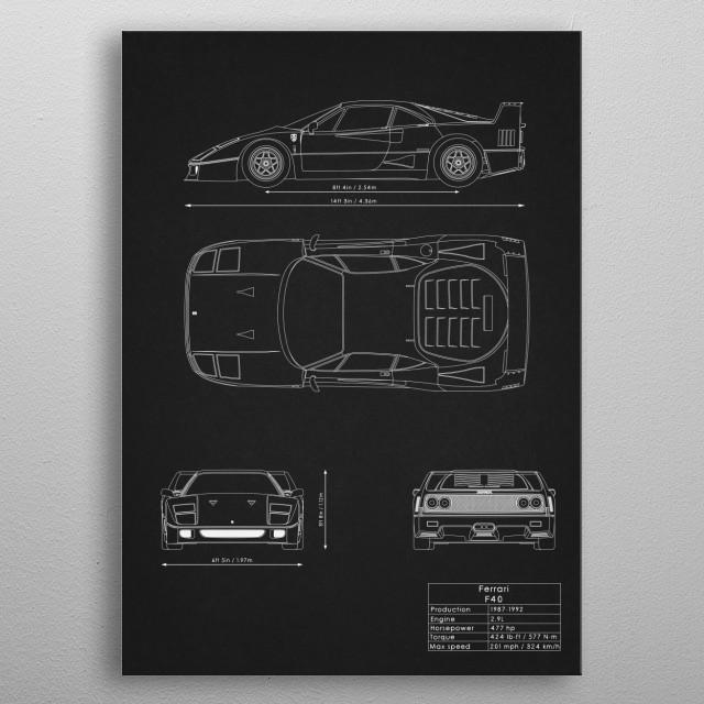Ferrari F40 metal poster