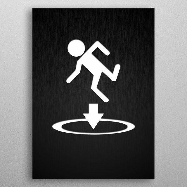 Portal instruction icon metal poster