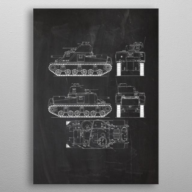 Tank M3 Lee metal poster