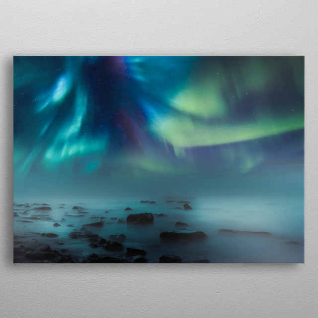 Aurora Borealis & The Lake  metal poster