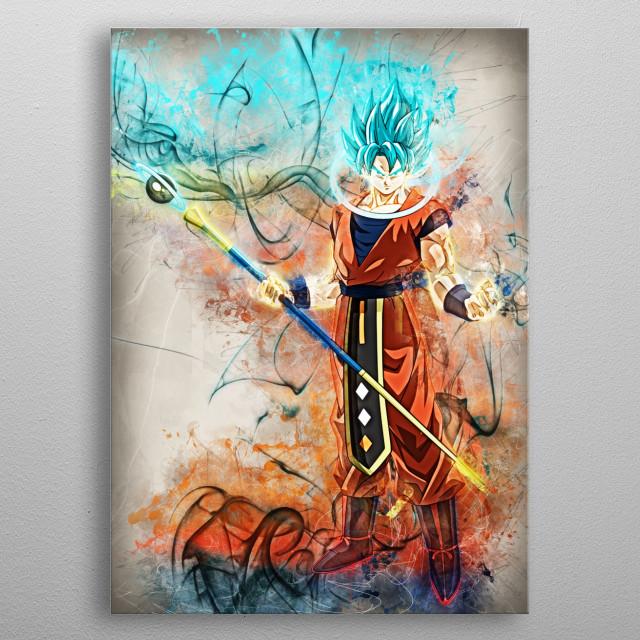 goku blue metal poster