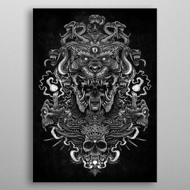 High-quality metal print from amazing Dark And Death Metal Art collection will bring unique style to your space and will show off your personality. metal poster