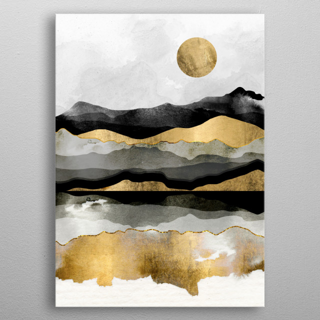 Golden Spring Moon metal poster