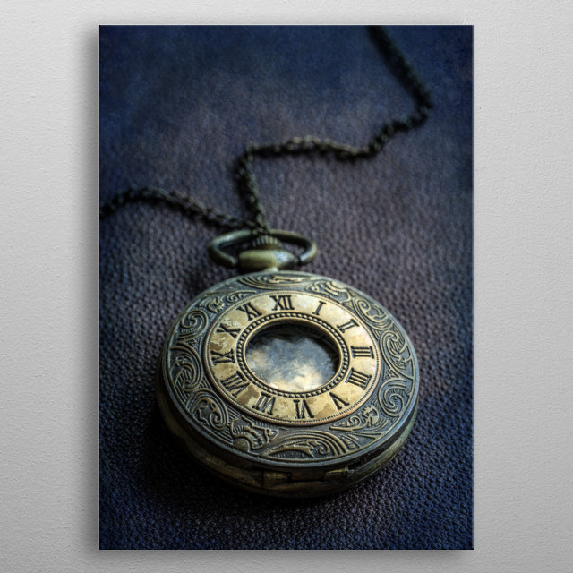 Ornamented pocket watch metal poster