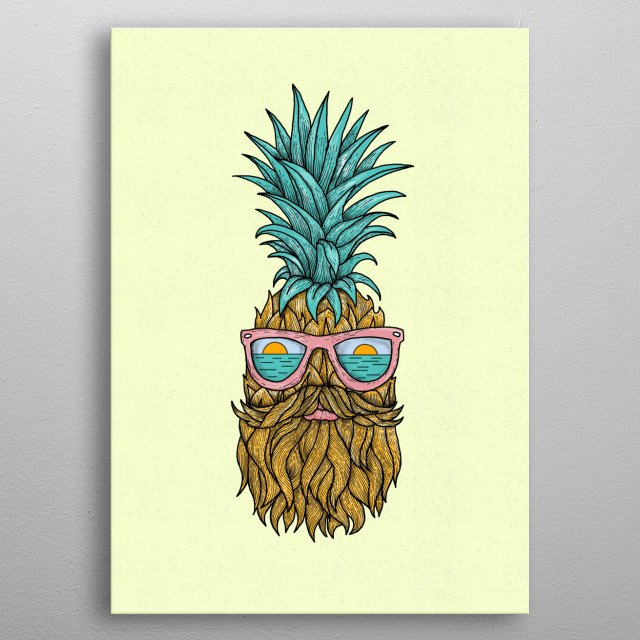 pineapple hipster metal poster