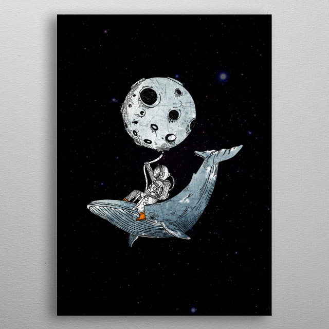 humpback whale and the astronaut metal poster