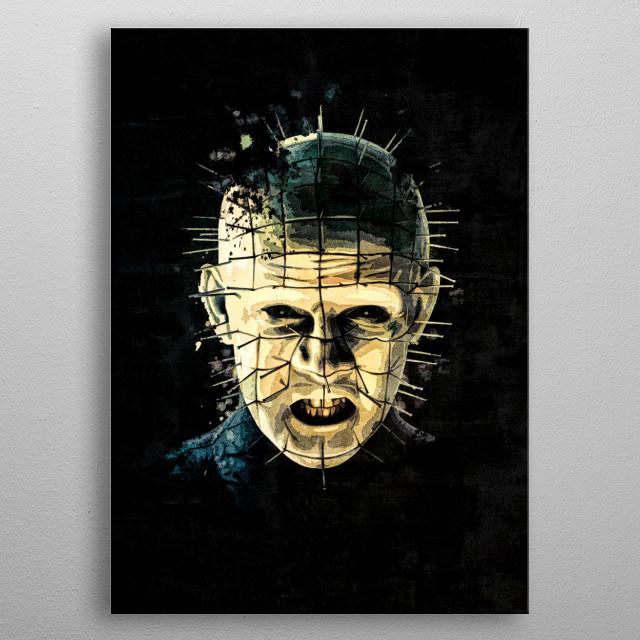 Hellriser splatter painting metal poster