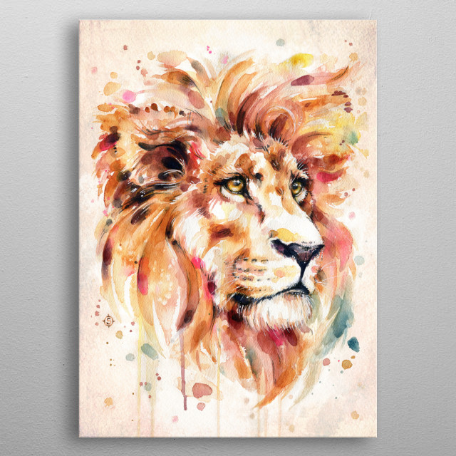 All Things Majestic (lion water colour art) metal poster