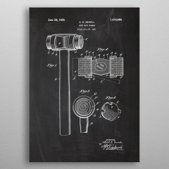 1927 Soft Face Hammer - Patent Drawing metal poster