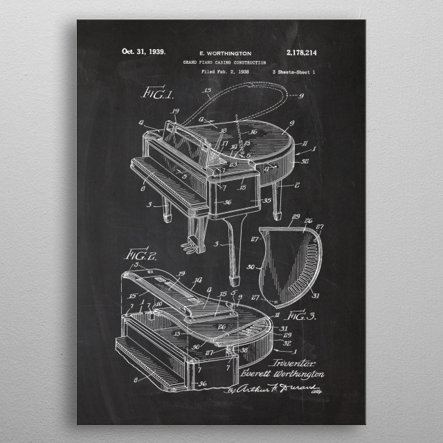 1938 Grand Piano Casing Construction - Patent  metal poster