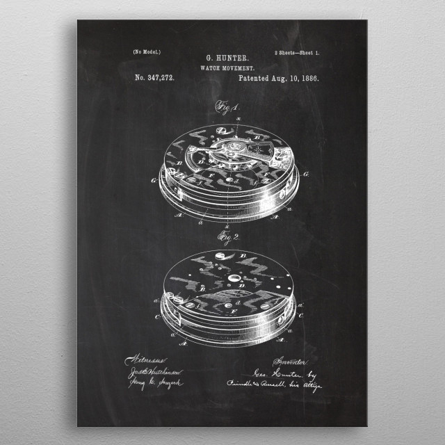 1886 Watch Movement - Patent Drawing metal poster