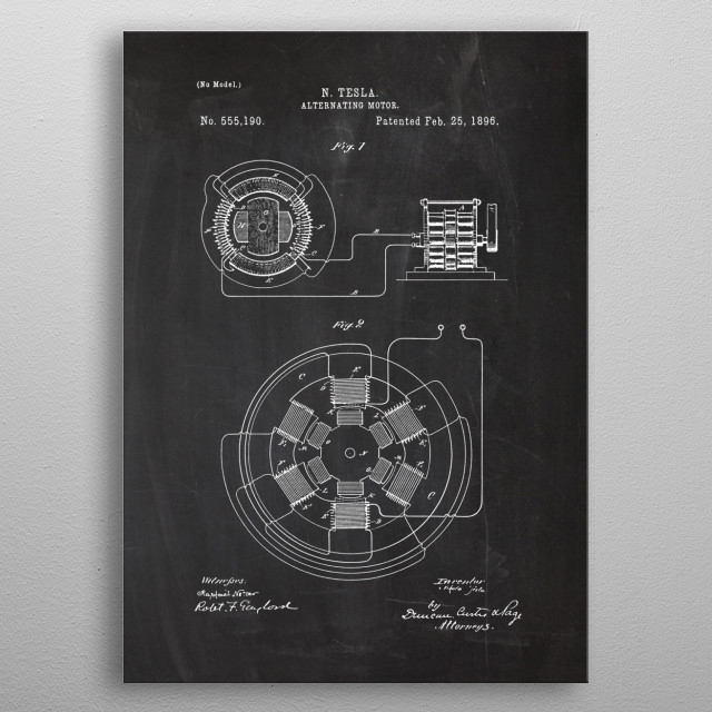 1896 Tesla Alternating Motor - Patent Drawing metal poster