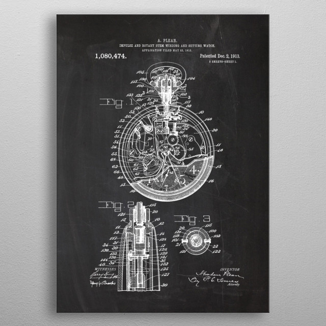 1913 Impulse and Rotary Stem Winding Watch metal poster