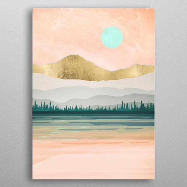 Spring Forest Lake metal poster