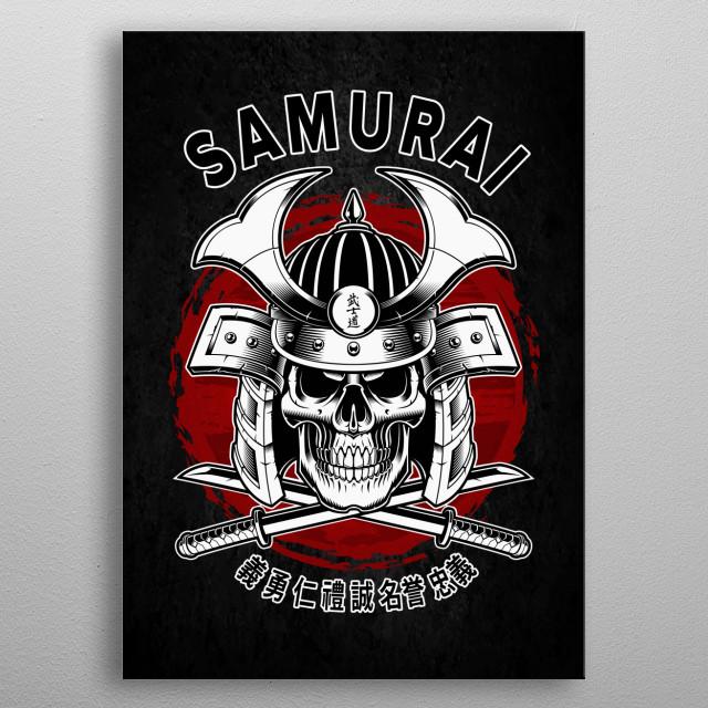 Bushido Samurai Skull metal poster