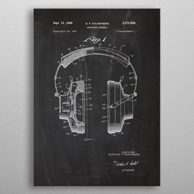 1963 Headphone Assembly - Patent Drawing metal poster