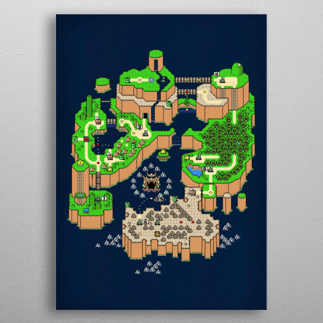 SUPER MARIO WORLD MAP metal poster