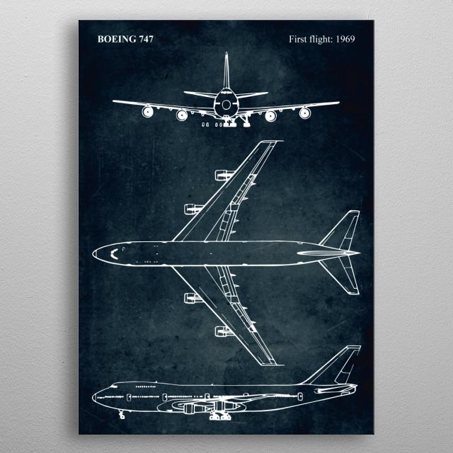 No006 - BOEING 747 - First flight 1969 metal poster