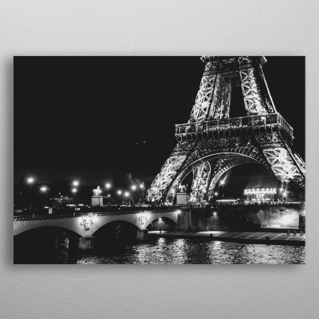 Eiffel tower by night metal poster