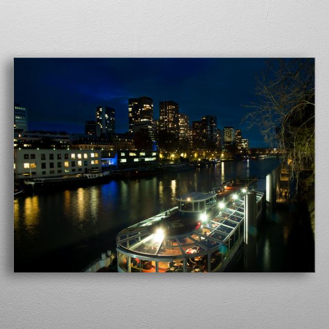 Seine by night metal poster