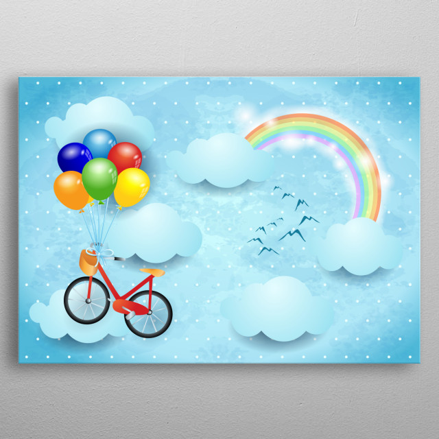 Surreal sky with bicycle and balloons metal poster