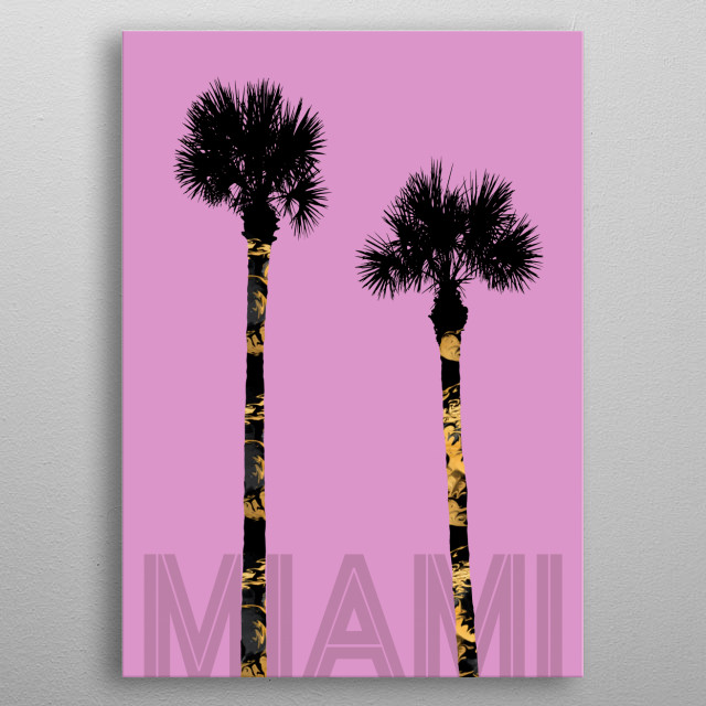Graphic Art PALM TREES MIAMI | pink metal poster