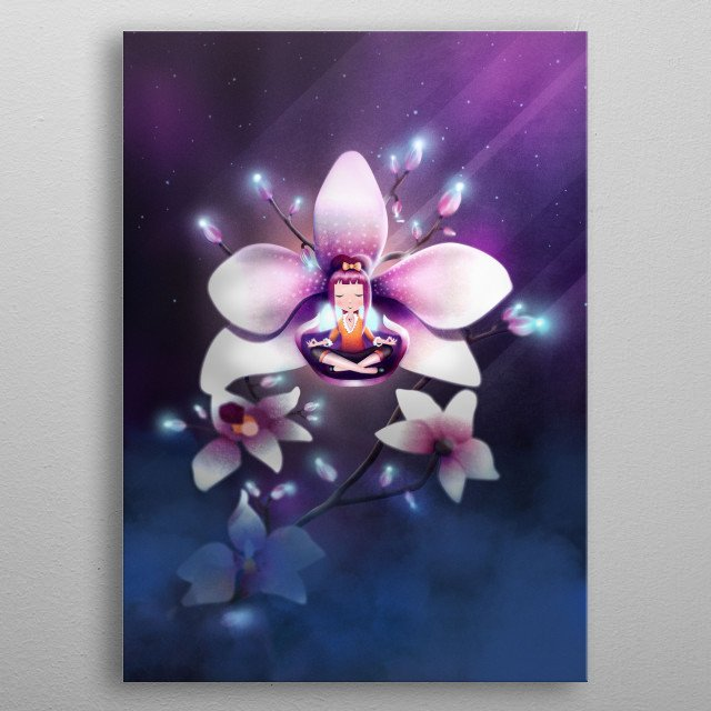 This artwork is for all orchid / phalaenopsis lovers out there! Enjoy a peaceful meditation inside the blossom of this glowing flower! Enjoy pink and romantic vibes of this digital painting and feel spirituality and postive attitude! metal poster