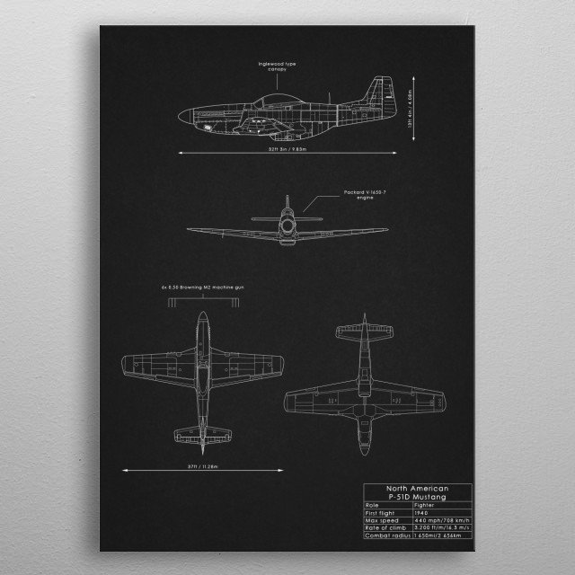 P-51D Mustang metal poster