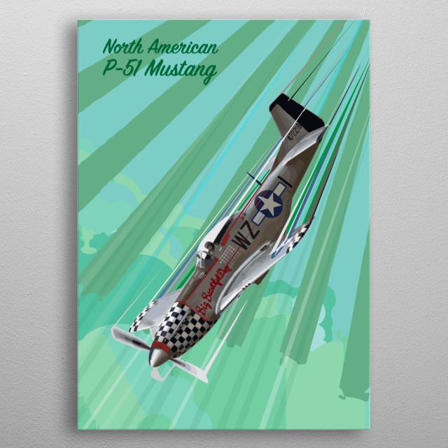 P-51 Mustang Pop Art metal poster