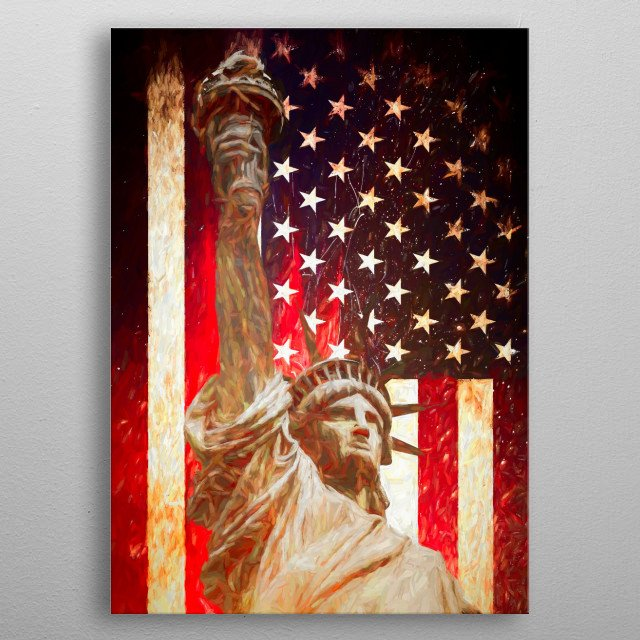Painted Lady Liberty on background of the Uninted States of America stars and stripes flag.  For contact and inquiries, please go to  Open for suggestions and requests. metal poster