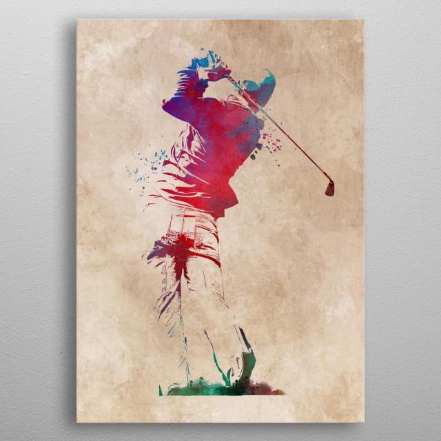 Golf player metal poster