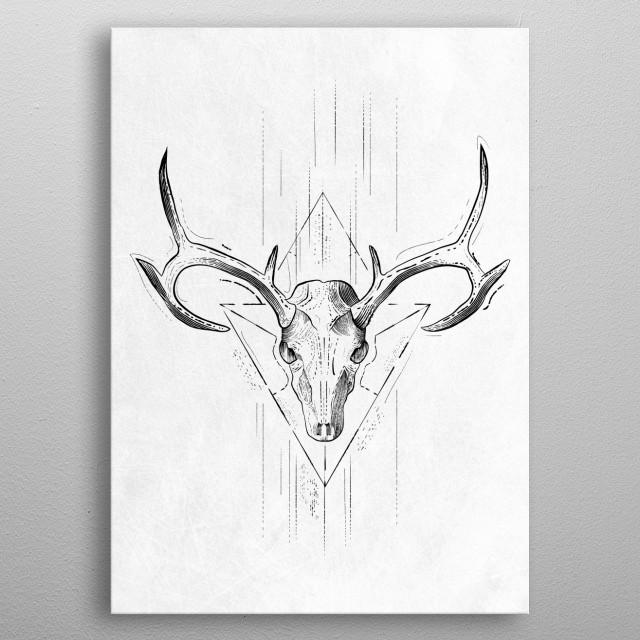 Skull Antlers metal poster
